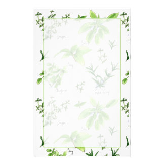 Kitchen Cooking Herbs Rosemary Basil Custom Stationery
