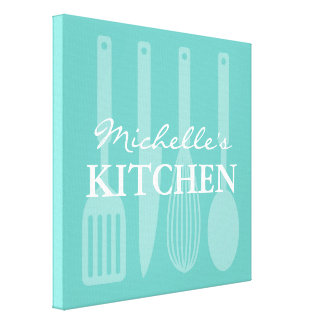 Kitchen cooking utensils wall art wrapped canvas
