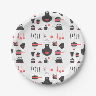 Kitchen, Cute Red and Black, Vintage, Retro Paper Plate