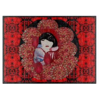Kitchen Cutting Board-Oriental Charm on Red/Black Cutting Board