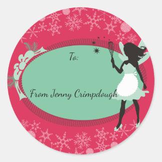 Kitchen fairy whisk Christmas food gift label Round Sticker