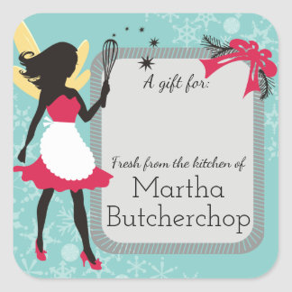 Kitchen fairy whisk Christmas food gift label Square Sticker