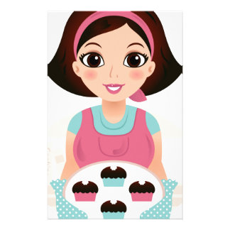 Kitchen girl with Cookies Stationery