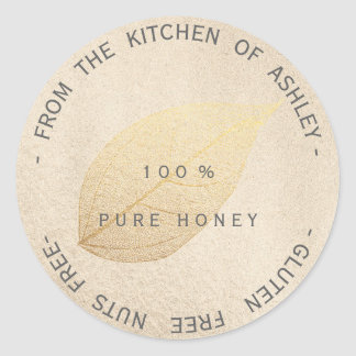 Kitchen Gluten Nuts Free Gold Leaf Titanium Pearl Classic Round Sticker