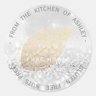 Kitchen Gluten Nuts Free Gold Silver Gray Glitter Classic Round Sticker