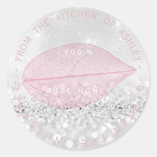 Kitchen Gluten Nuts Free Pink Silver Gray Glitter Classic Round Sticker