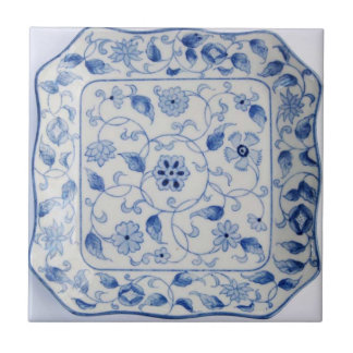 Kitchen hot plate in blue and white small square tile