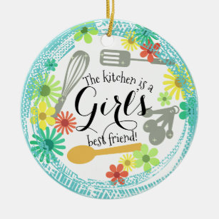 kitchen is girls best friend christmas ornament