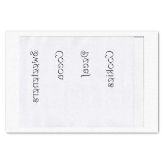 Kitchen Jar Labels reversed for transfers Tissue Paper