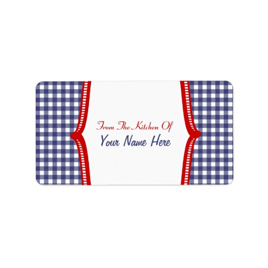 "Kitchen Label- ""From The Kitchen Of"" Blue Gingham Label"