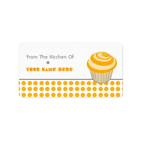 Kitchen Label - Orange Cupcake and Polka Dots