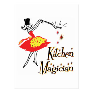 Kitchen Magician Retro Cooking Art Postcard