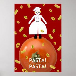 """Kitchen Martzkin Red """"Pasta! Pasta!"""" Poster"""