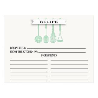 Kitchen Mint Utensils Bridal Shower Recipe Cards Postcard