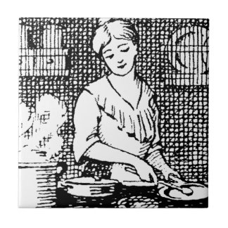 Kitchen of the past small square tile