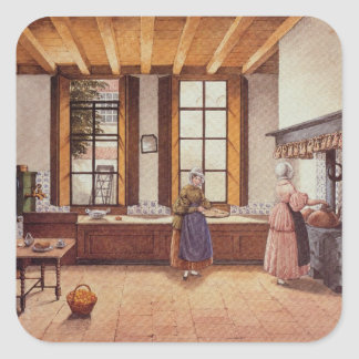 Kitchen of the Zwijnshoofd Hotel at Arnhem, 1838 Square Sticker