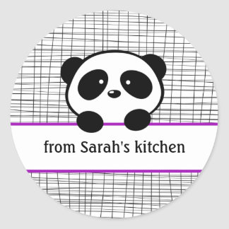Kitchen Purple Black Panda Canning Stickers