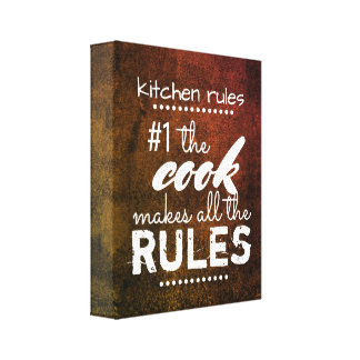kitchen rules  canvas wall art humour quote