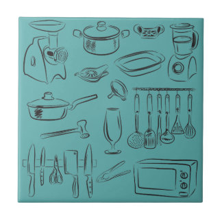 Kitchen Sketch Small Square Tile