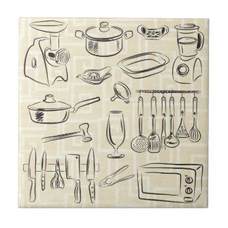 Kitchen Sketch Ceramic Tile
