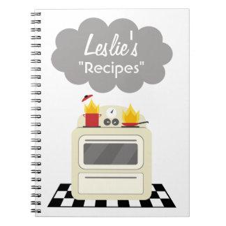 Kitchen Smoke & Fire Retro Stove Recipe Notebook