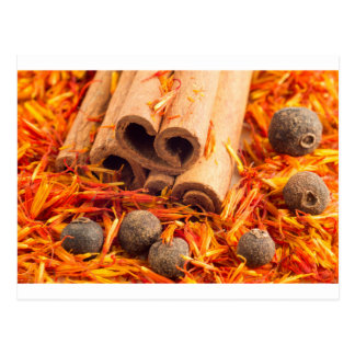 Kitchen spices and herbs close-up postcard