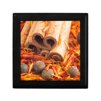 Kitchen spices and herbs close-up small square gift box