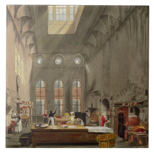 Kitchen, St. James's Palace, engraved by William J Ceramic Tile