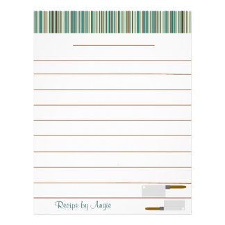 Kitchen Stripes Aqua Recipe Paper - With Lines 21.5 Cm X 28 Cm Flyer