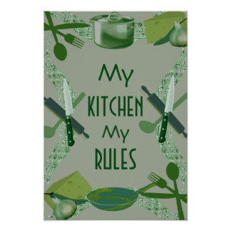 Kitchen style food cooking cover poster