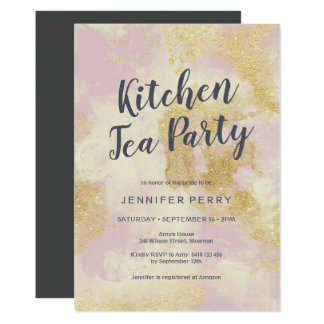 Kitchen Tea Party Invitation - Pink gold glitter