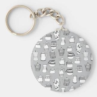 Kitchen Tea Pot Teapot Grey Simple / Andrea Lauren Basic Round Button Key Ring
