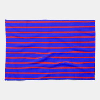 Kitchen / Tea Towel: Broad Blue / Thin Red Stripes Tea Towel