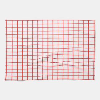 Kitchen / Tea Towel - White, Red criss-crosses,