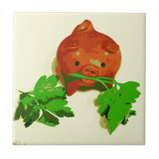 Kitchen Tile Pig with Parsley series art