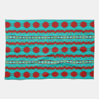"""Kitchen Towel 16"""" x 24"""" w/Teal and Red Abstract"""