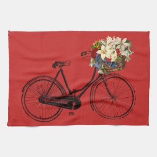 Kitchen towel bicycle flower bike red