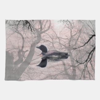 Kitchen towel Black and white loon on a lake pink