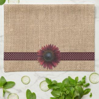 Kitchen Towel - Burlap and Bordeaux Sunflower