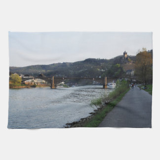 Kitchen towel Cochem Moselle bank in the evening