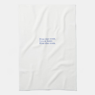 Kitchen Towel, Kiss the cook. Drink beer. Blue Tea Towel