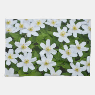 Kitchen towel print with white flowers