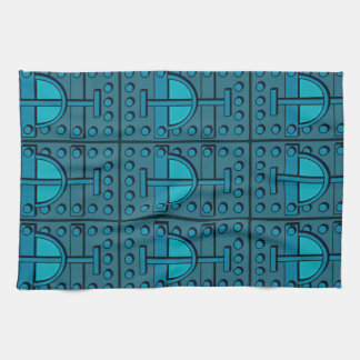 Kitchen Towel with Armoured Teal Design