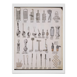 Kitchen utensils, from a trade catalogue of domest posters