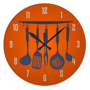 Orange Wall Clocks Zazzle Com Au