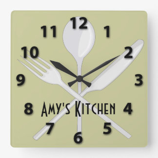 Kitchen Utensils Square Wall Clock