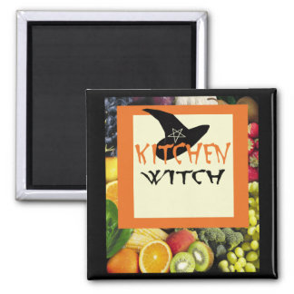 Kitchen Witch Square Magnet