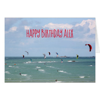 Kite Boarding Race Happy Birthday personalised Card