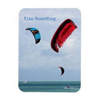 Kite boarding.  Three kite surfers Rectangular Photo Magnet