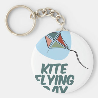 Kite Flying Day - 8th February Basic Round Button Key Ring